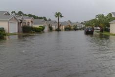 Neighborhood flooded by rain water