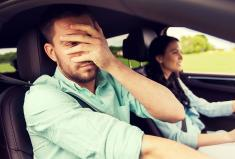 Teen Driver and Nervous Parent in Car